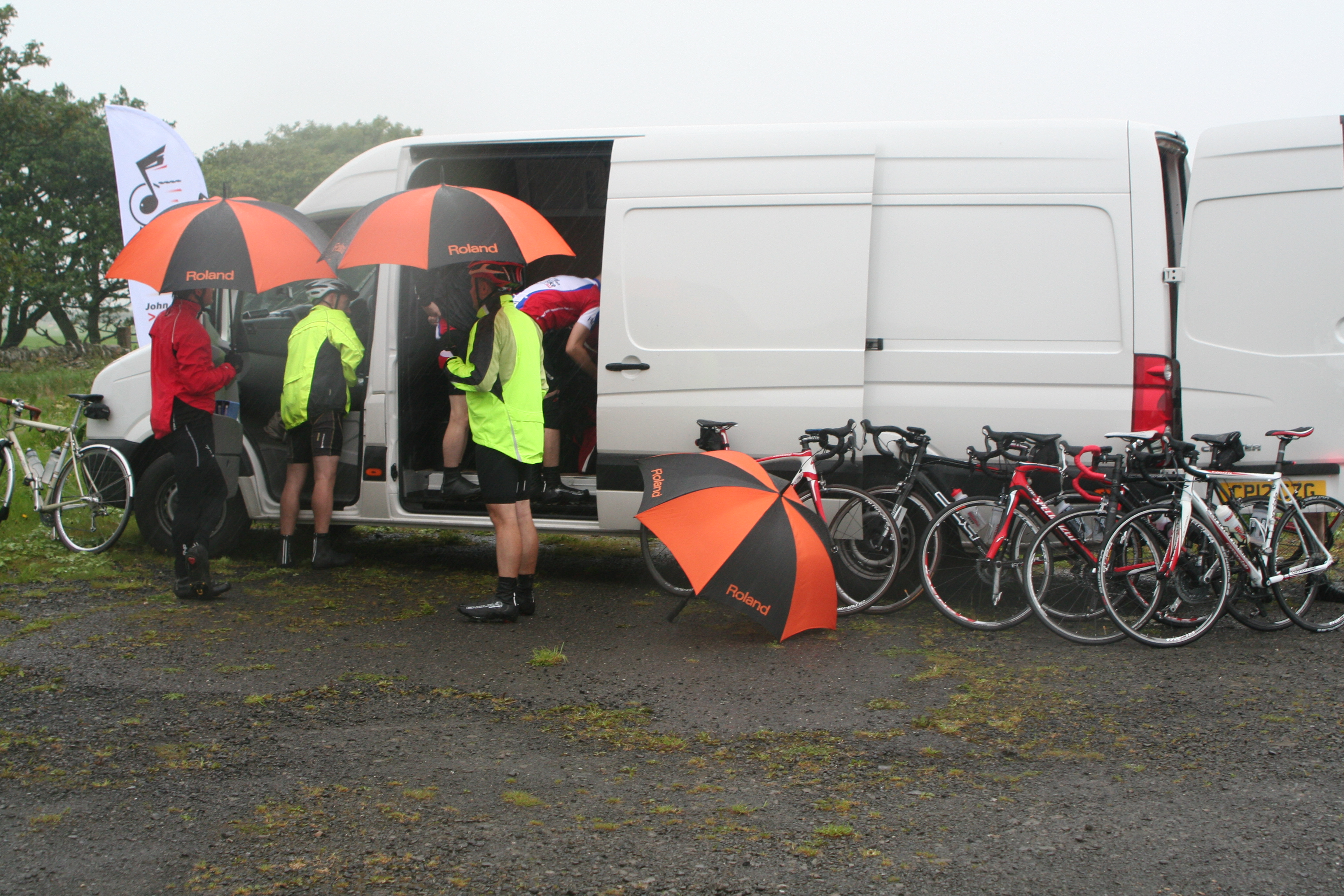 Terry's van in full swing on Day 1 of Three Men on a Bike 2012