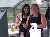 Lisa & Yvonne cook up a fundraising BBQ