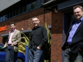 Peter, Simon and Tim outside the Roland offices