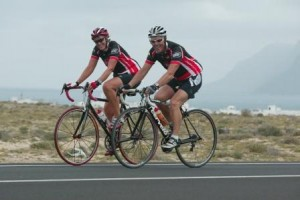Rose Jones and Terry Jones on bikes