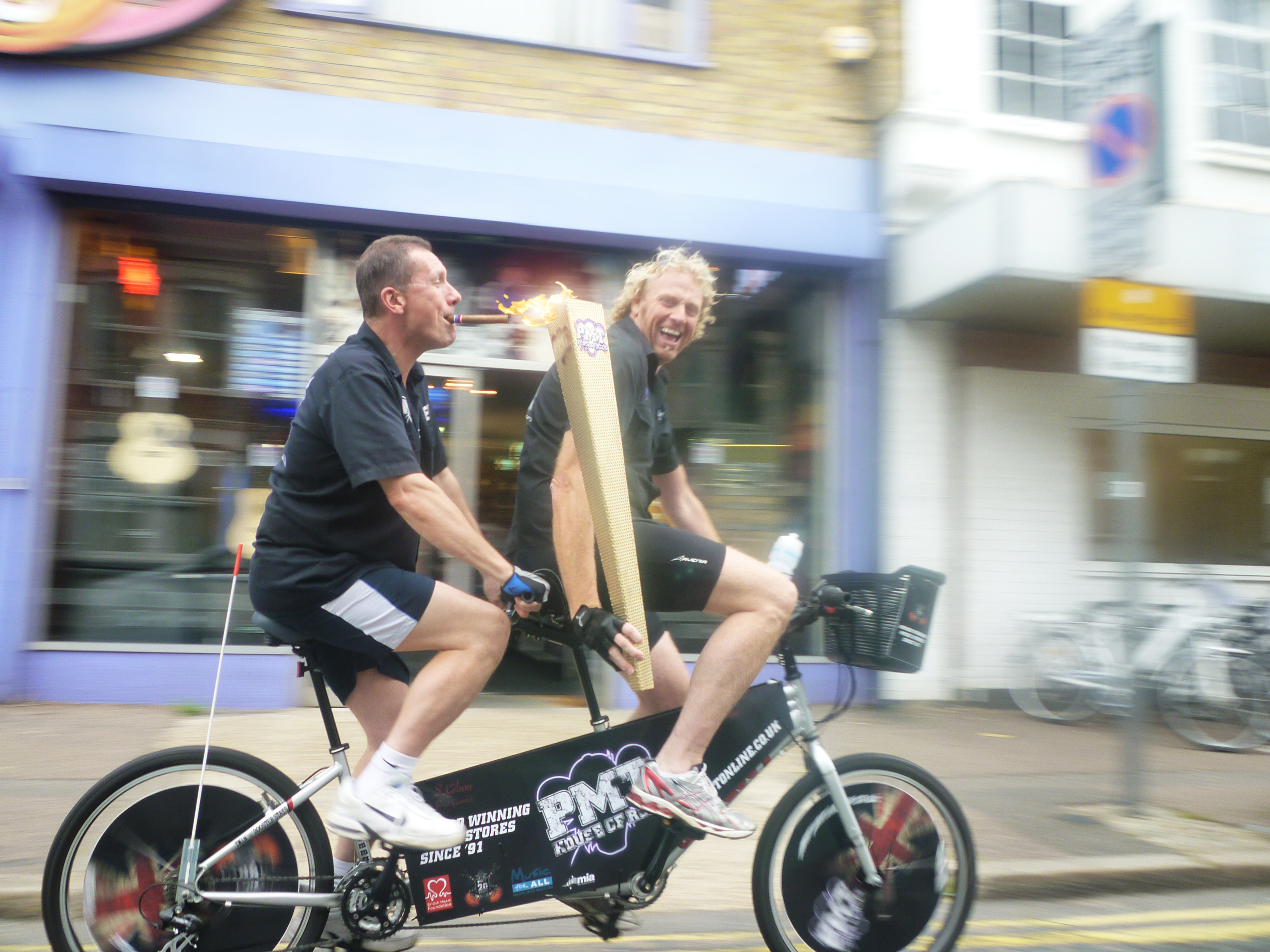 Local businessmen Simon Gilson and Terry Hope, of PMT, a leading musical instrument retailer headquartered in Southend, claimed to have 'found' the torch while out on a training session for a charity bike ride